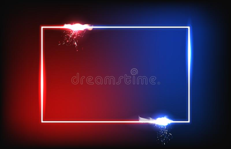 Background of red and blue square frame with fog and spark particle royalty free stock images