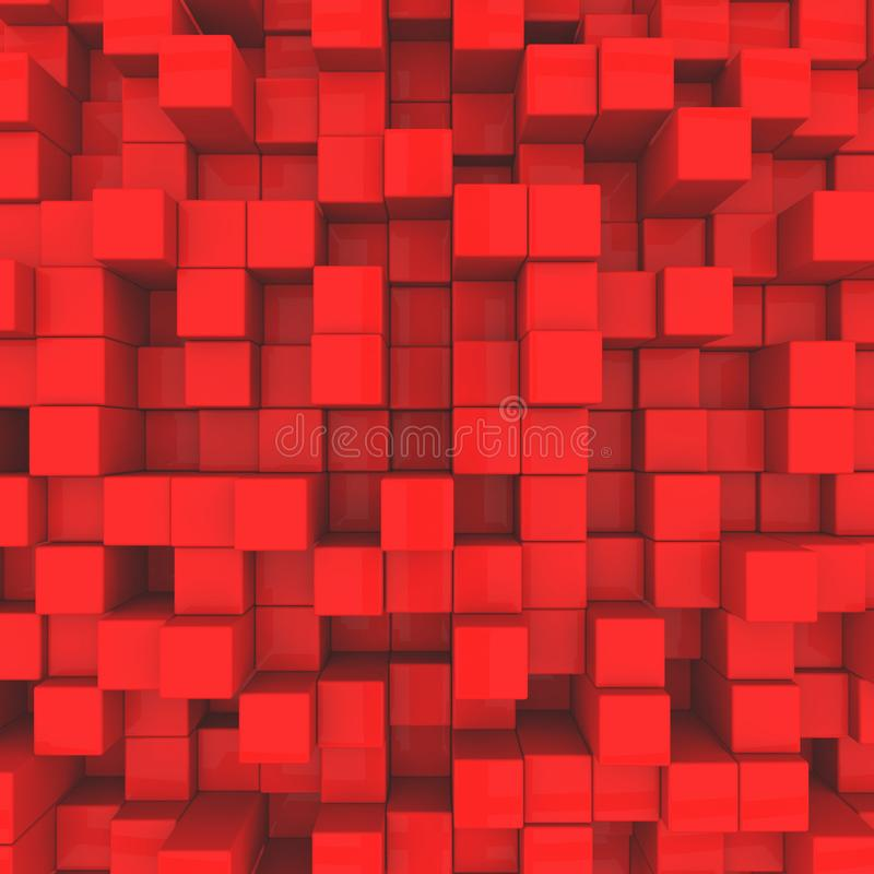 Abstract background. Red cubes royalty free illustration