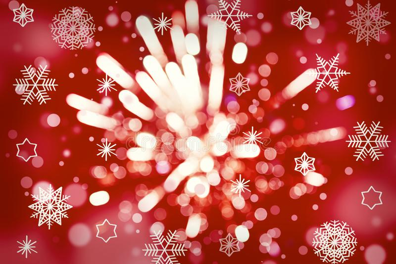 Abstract background. Red gold-colored blur. Circle blur. Christmas snowflakes background. fireworks royalty free stock image