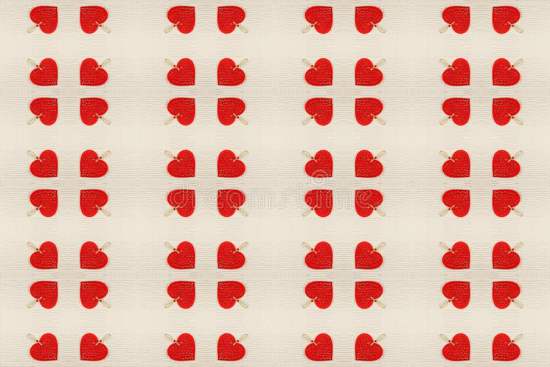 Abstract background of red hearts on light background mirror symmetry effect. stock image