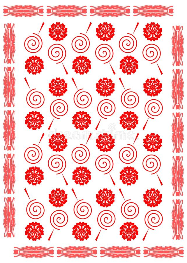 Abstract background in red with stylized lollipops royalty free illustration
