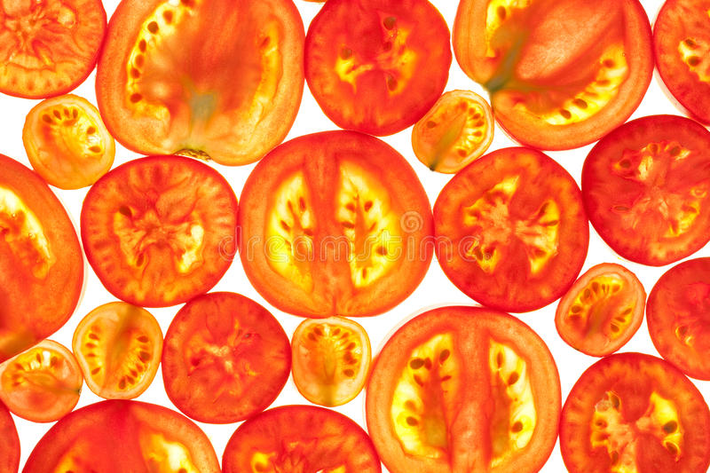 Abstract Background Of Red Tomato Slices Royalty Free Stock Photography
