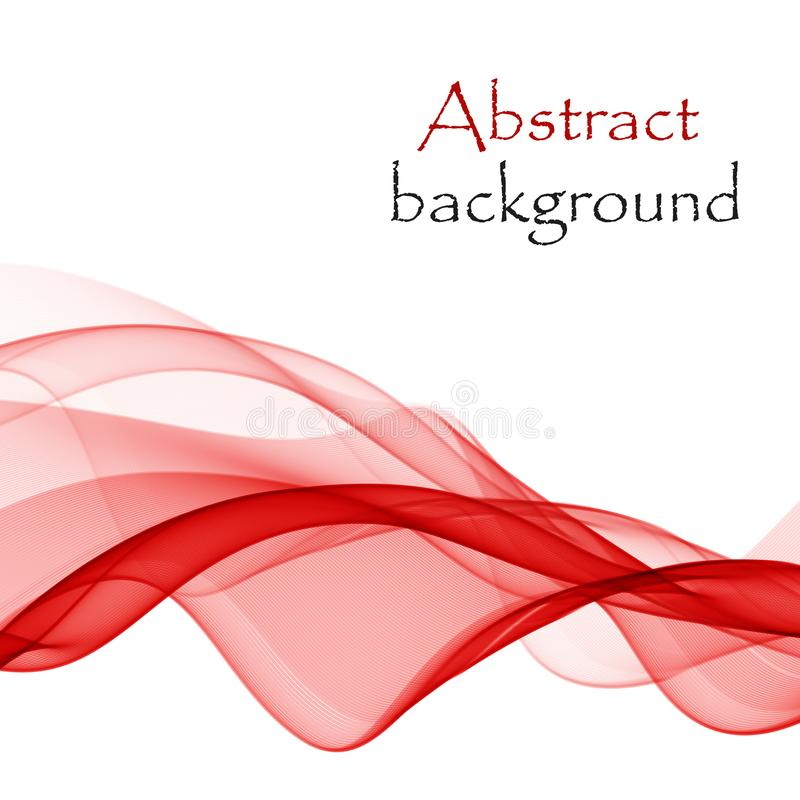 Abstract background with red waves of transparent flying material royalty free stock photos