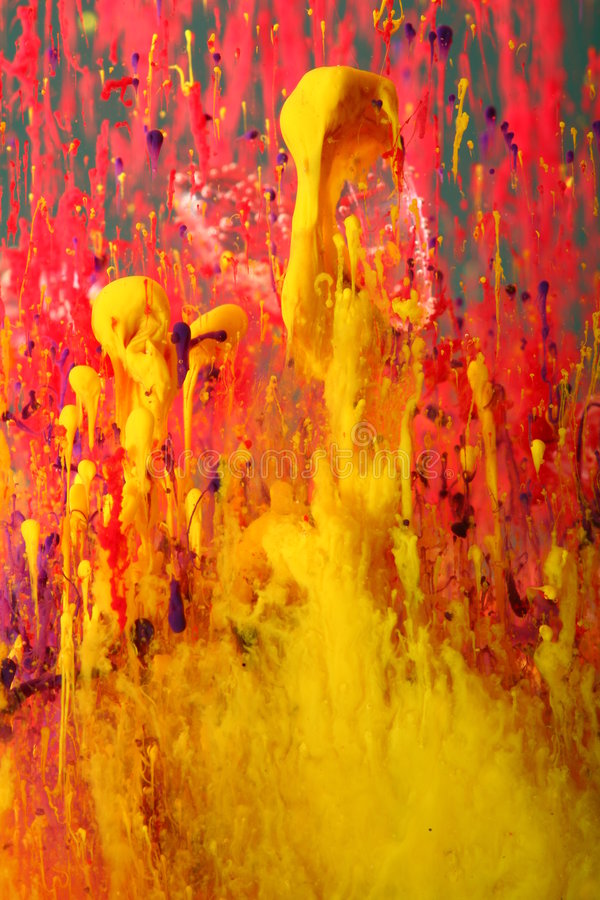 Abstract background of red and yellow paints royalty free stock photo