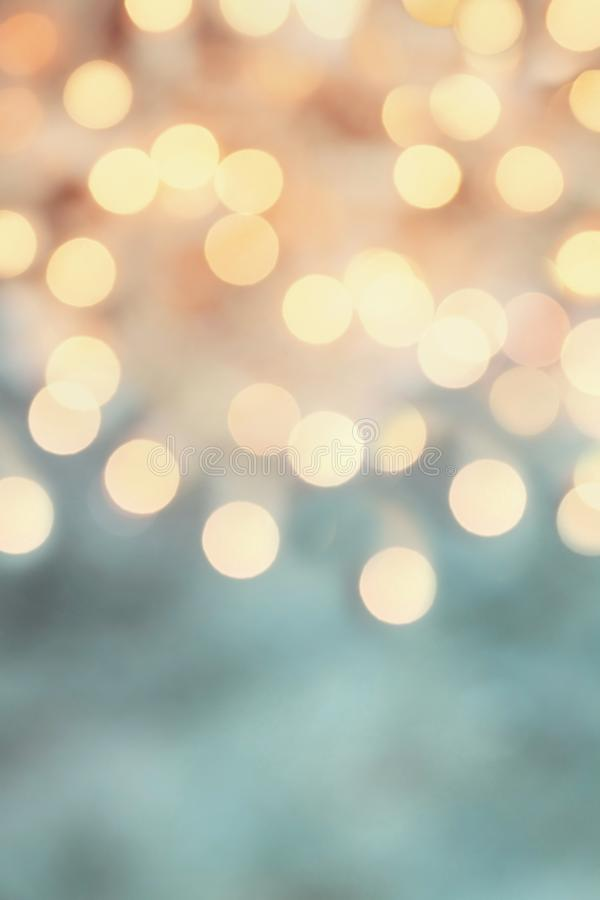 Holiday Gold and Blue Bokeh Lights stock image