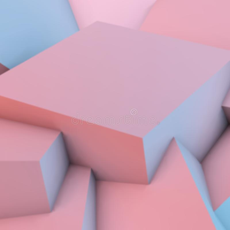Abstract background with rose quartz and serenity cubes. Abstract background with overlapping rose quartz and serenity cubes vector illustration
