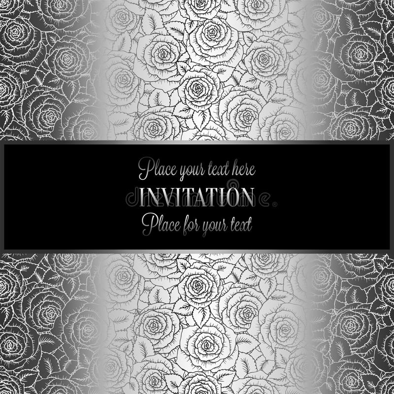 Abstract background with roses, luxury black and silver vintage tracery made of roses, damask floral wallpaper ornaments, invitati stock illustration