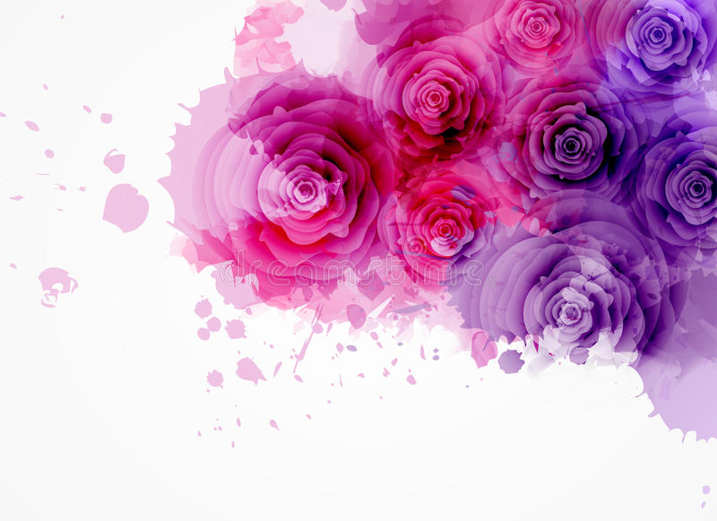 Abstract background with roses stock illustration