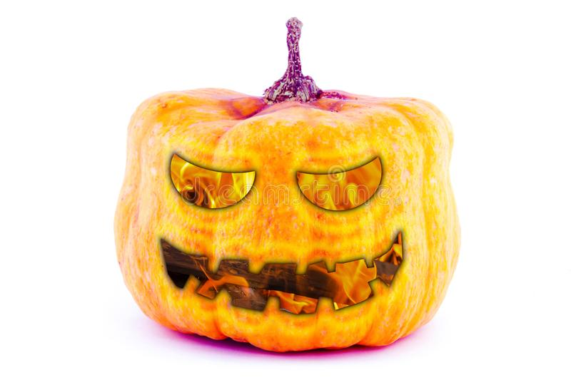 Abstract background scary face pumpkin fire smile eyes design halloween on white base stock photos