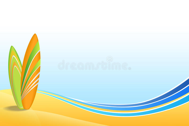 Abstract background sea coast holidays design orange green surfboards beach blue yellow. Vector vector illustration
