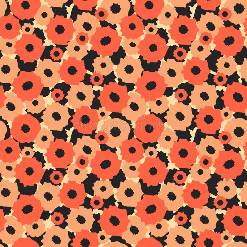 Abstract background. Seamless pattern with orange flowers vector illustration