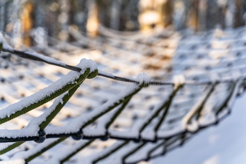 Photo of Outdoor Playground Elements in Forest in Sunny Winter,. Abstract Background, Selective Focus with Closeup on Safety Net - Symbolizing Reliability stock photography