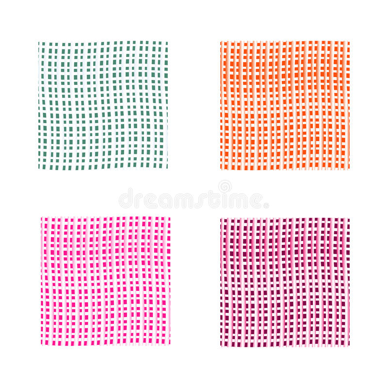 Abstract background set in four colors. Green, pink, orange, violet vector backgrounds with thin lines. stock photography
