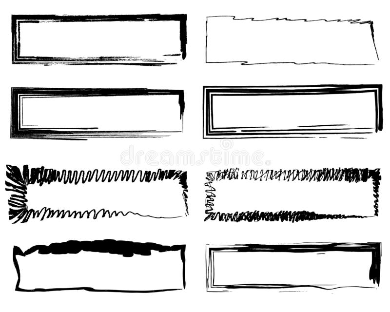 Abstract background set frame black brush stroke royalty free illustration