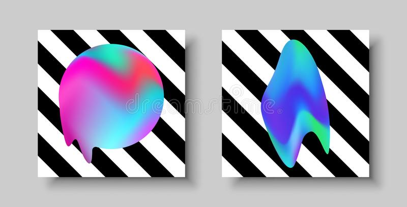 Abstract modern color greeting card template set stock illustration