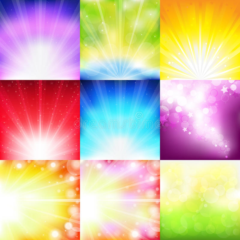 Abstract Background Set. Vector. 9 Bright Background With Rays And Stars