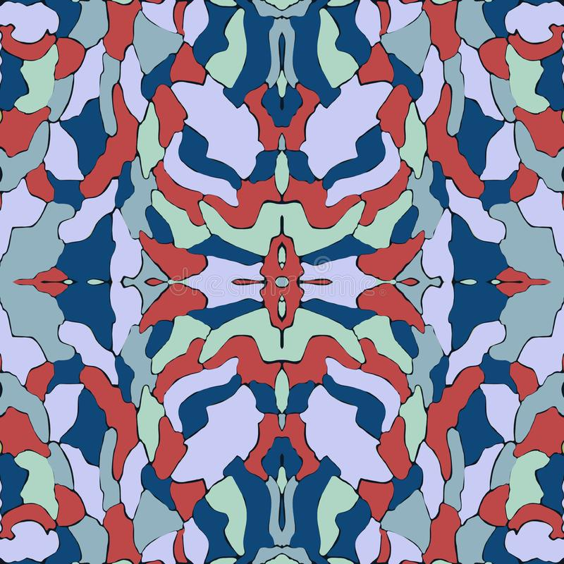 Blue and red seamless pattern, kaleidoscope background, original design for fashion royalty free stock images