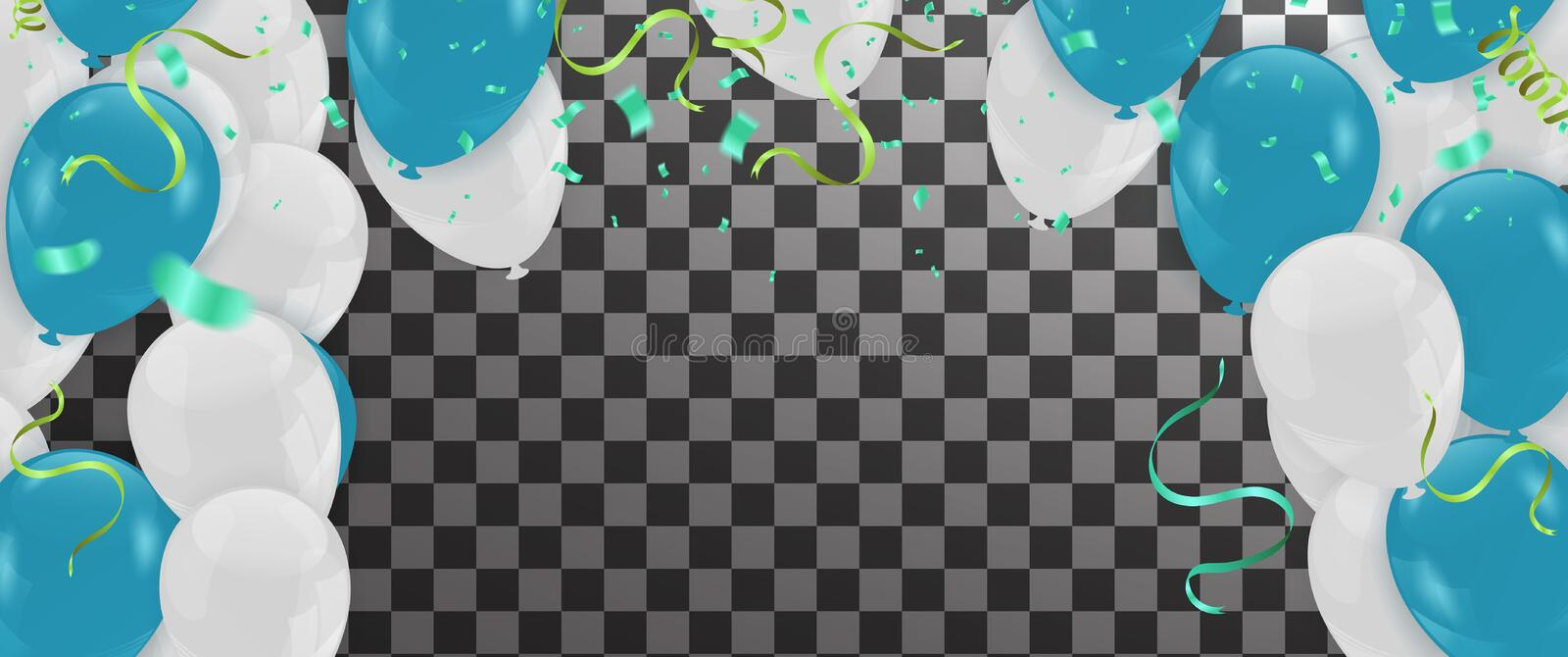 Abstract Background with Shining White Balloons and Blue . Birth vector illustration