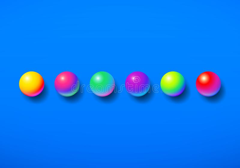 Abstract background shiny memphis acid colored balls over colorful blue backdrop royalty free illustration