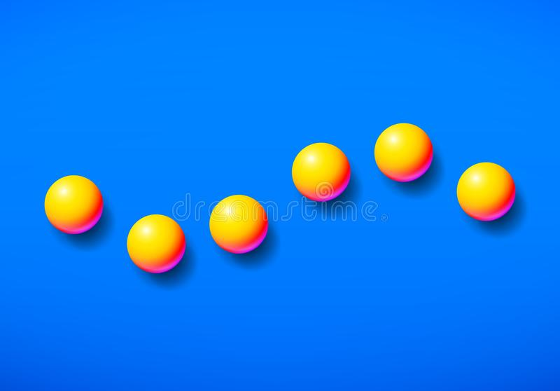 Abstract background shiny memphis acid colored yellow balls over blue backdrop vector illustration