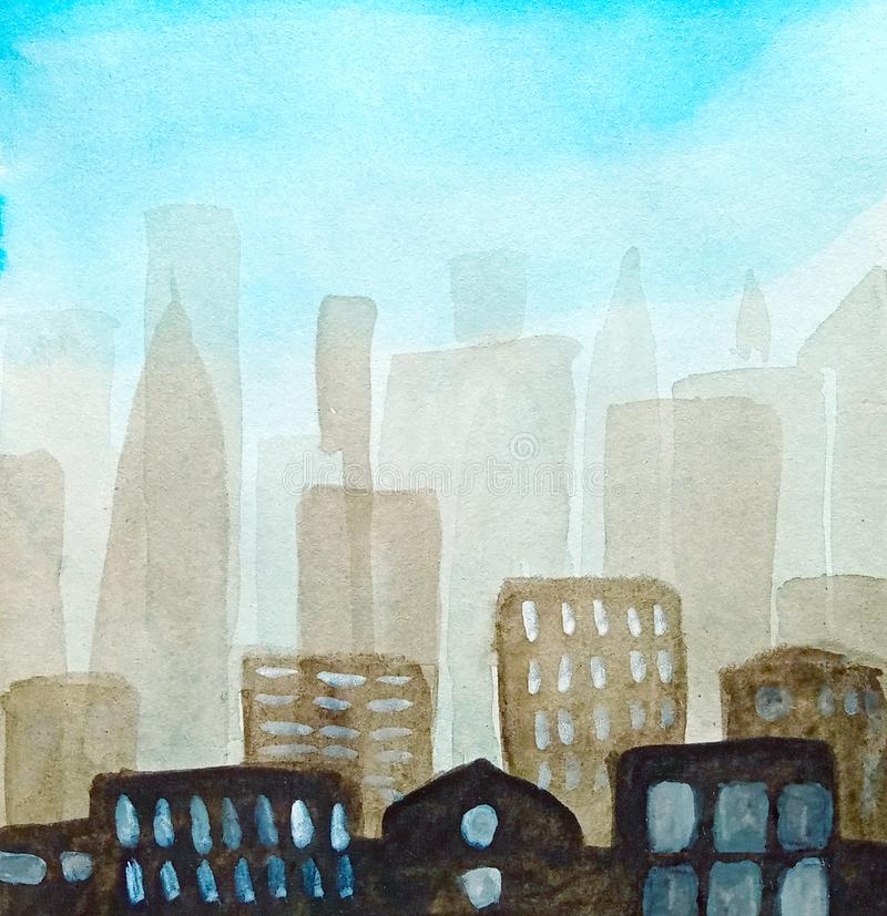 Abstract background. Silhouette of the city in a haze and with a blue sky, light windows, watercolor royalty free illustration