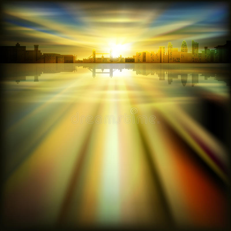Abstract background with silhouette of London royalty free stock photos