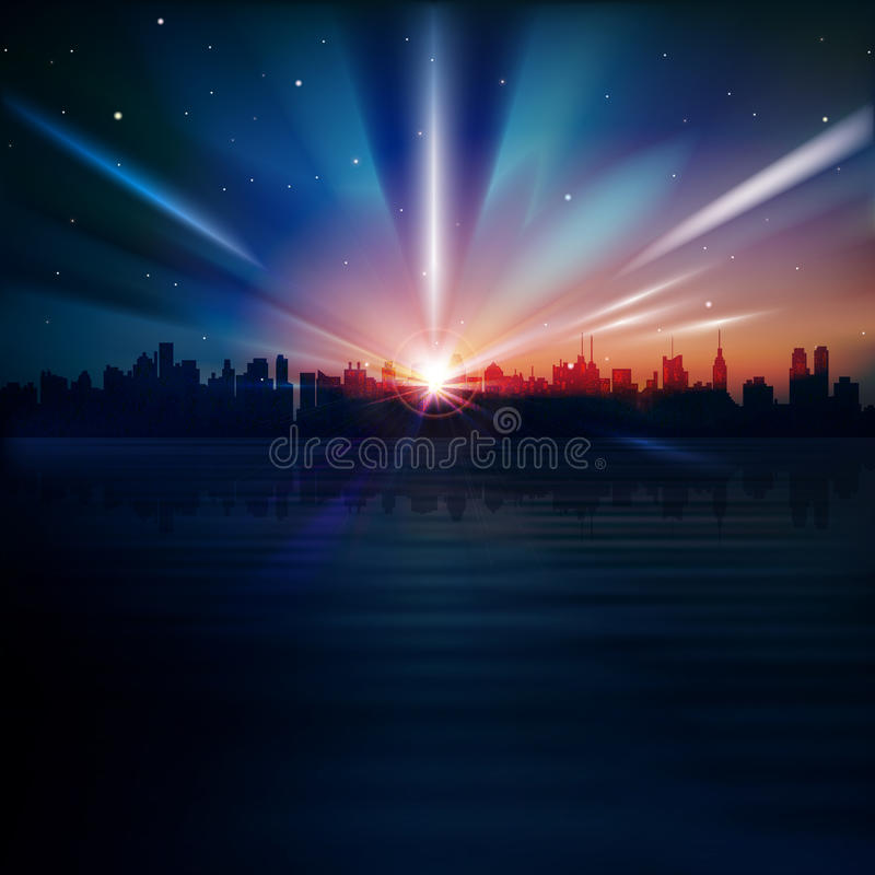 Abstract background with silhouette of New York stock photo