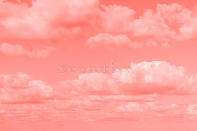 Abstract background, sky with white fluffy cloud. Coral color concept stock photos