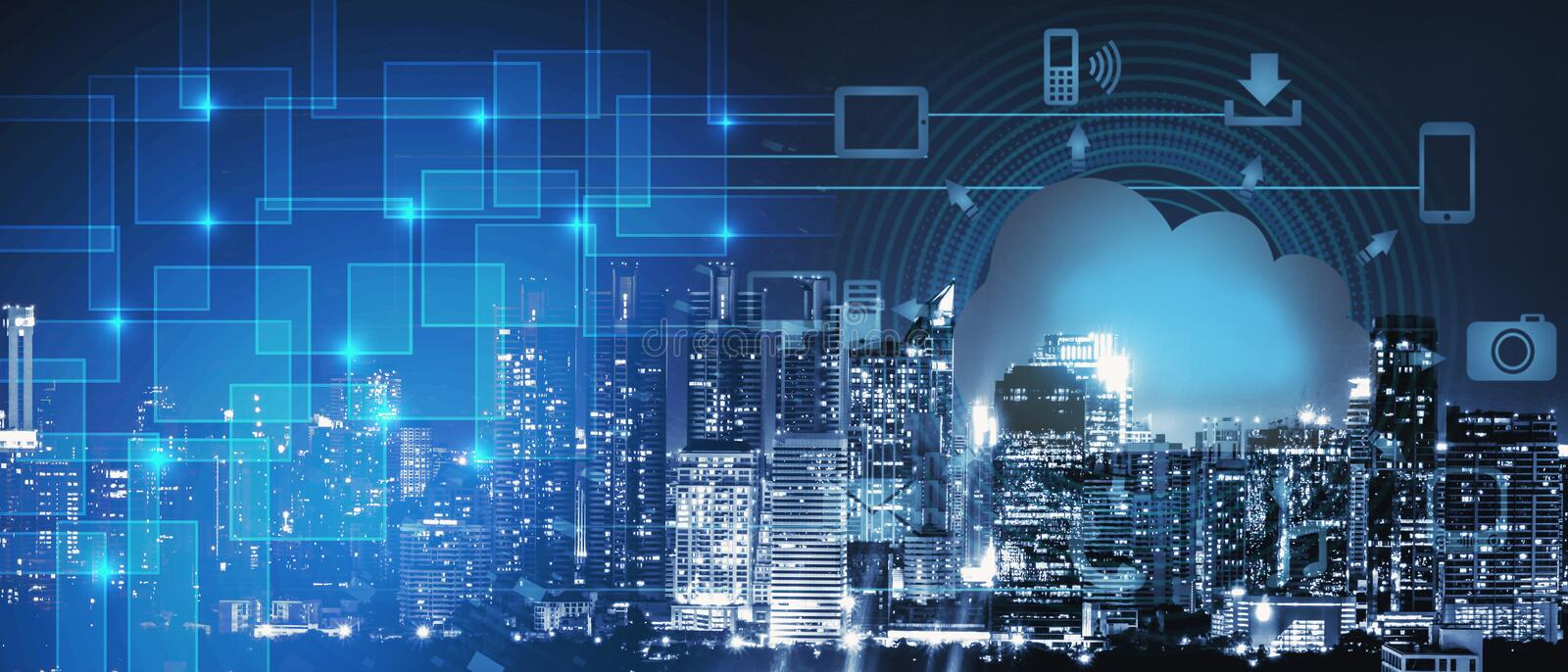 Background of smart city intelligence networking on clound technology, night cityscape with digital and cloud technology sign and royalty free stock photography