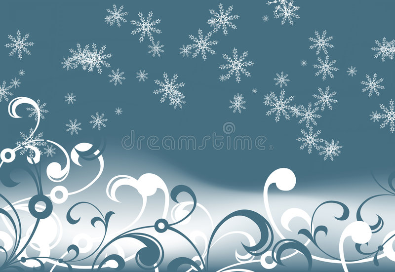 Abstract_background_with_snowflakes_and_floral_elements vector illustration