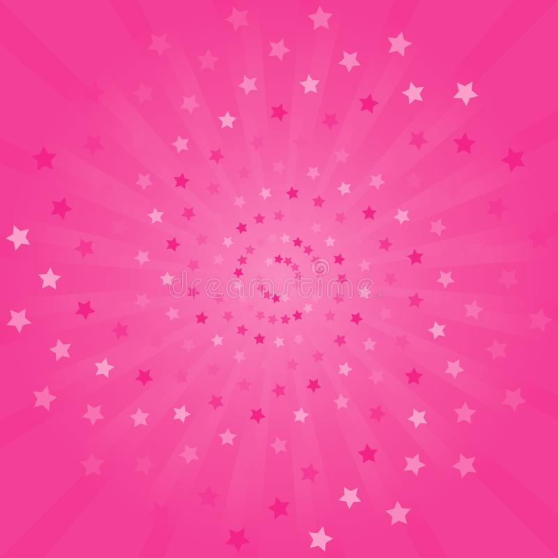 Abstract background. Soft bright Pink rays and stars background. vector illustration