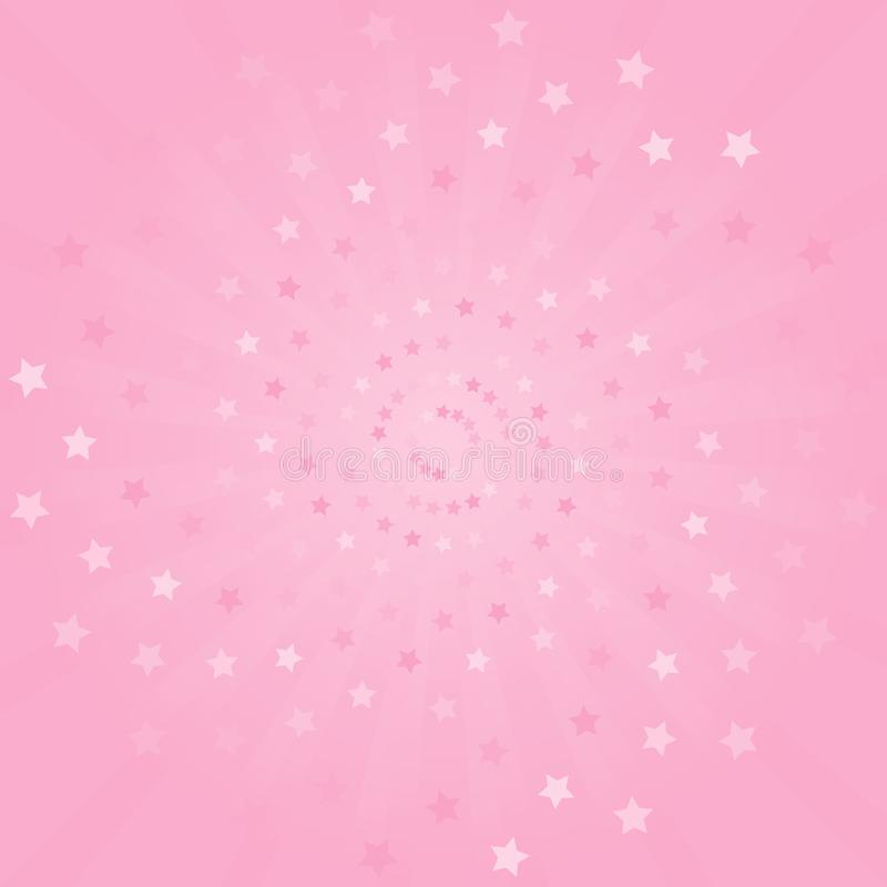 Abstract background. Soft Pink rays and stars background. Vector royalty free illustration