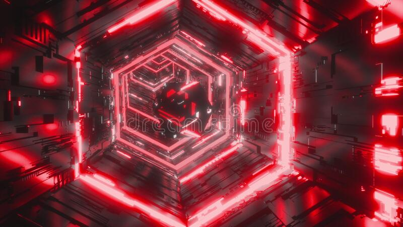 Abstract background of a specular gem flying through the bright red neon hexagon tunnel. Art, commercial and business royalty free stock image