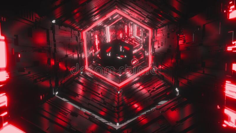 Abstract background of a specular gem flying through the bright red neon hexagon tunnel. Art, commercial and business stock image