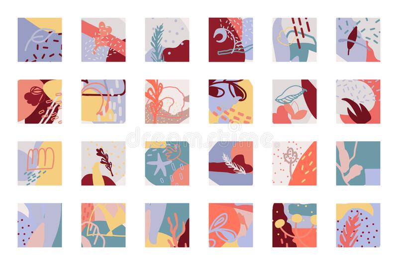 Abstract background square cover icon vector set 皇族释放例证