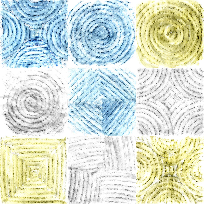 Abstract background of squares with watercolor pencils.  royalty free illustration