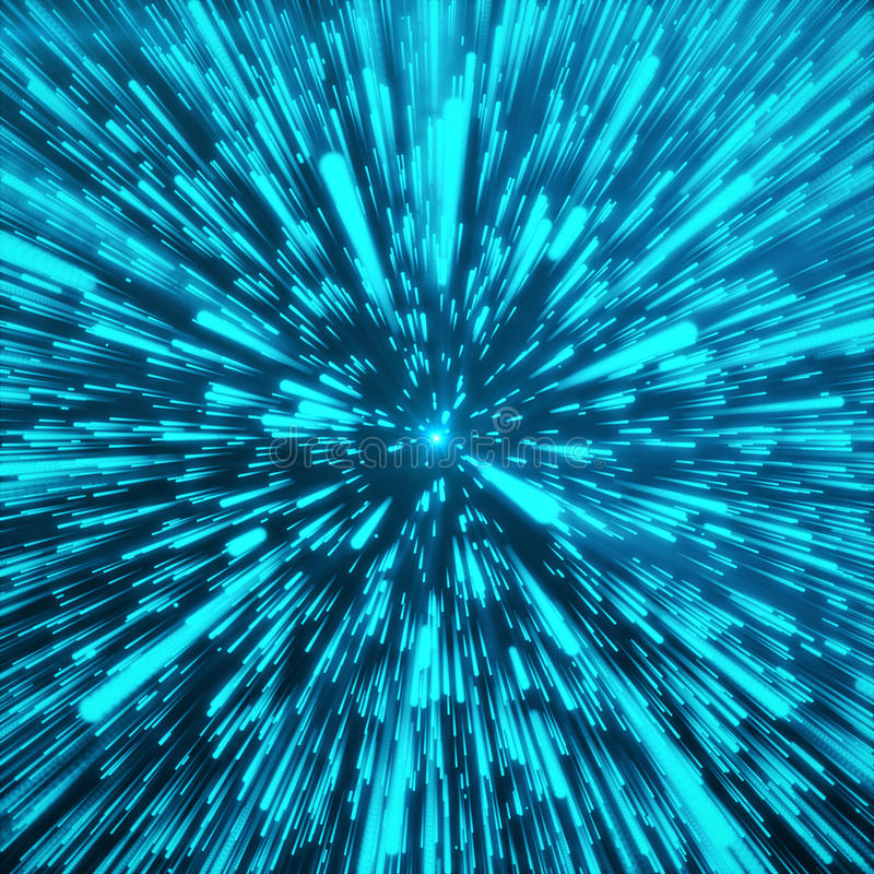 Abstract Background With Star Warp or Hyperspace. Abstract Exploding Effect. Hyperspace Travel. The Concept of Space. Travel by Changing Time and Space. Blue royalty free illustration