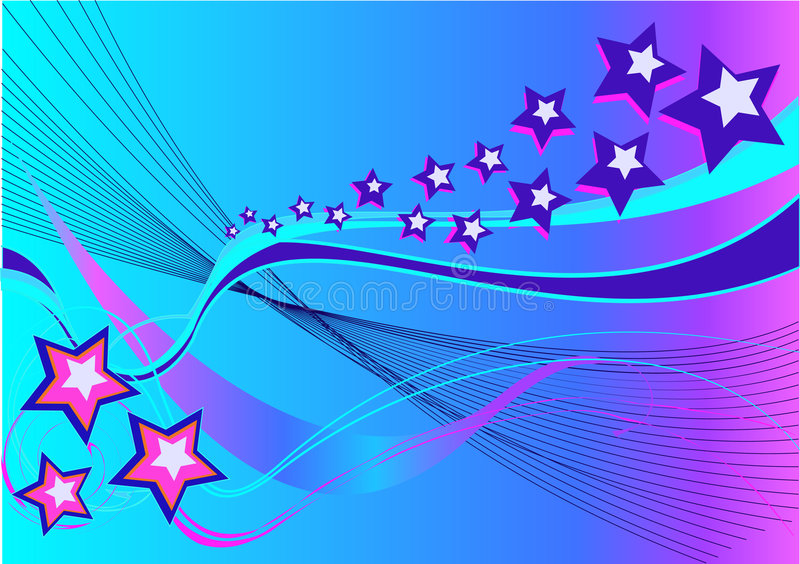 Download Abstract Background With Stars And Waves Stock Illustration - Illustration: 6480462