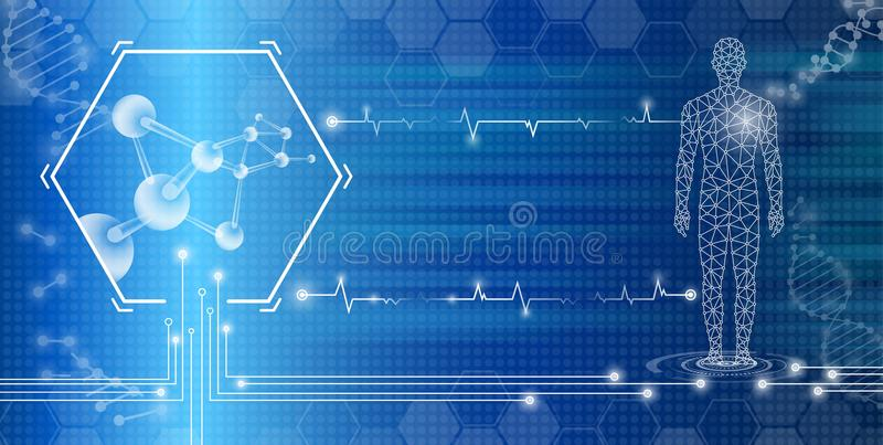 Abstract background technology concept in blue light stock illustration