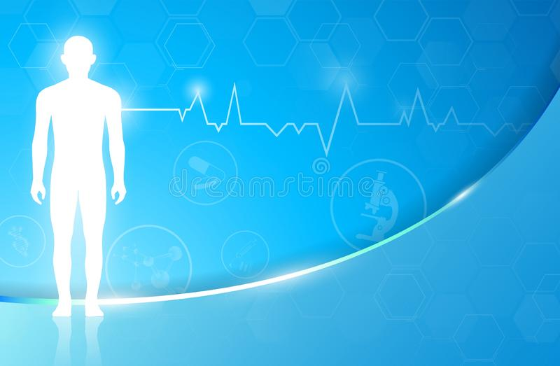 Abstract background technology concept in blue light,brain and human body heal royalty free stock images