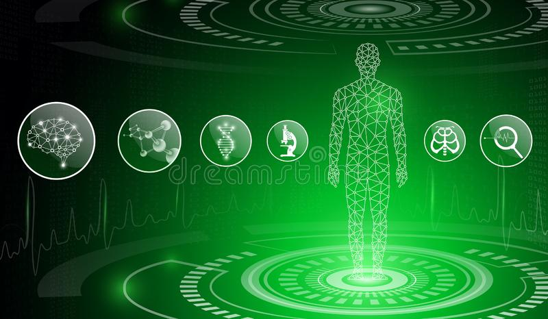 Abstract background technology concept in green light,human body heal royalty free stock photo