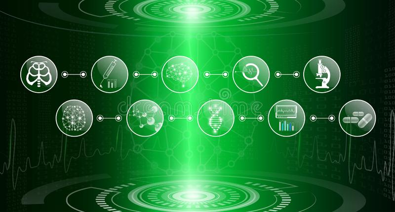 Abstract background technology concept in green light,human body heal stock photography