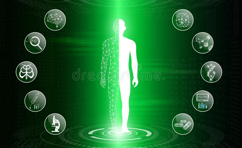 Abstract background technology concept in green light,human body heal royalty free stock photos
