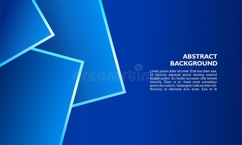 Abstract background template with overlap square shape and metallic line on blue color vector illustration