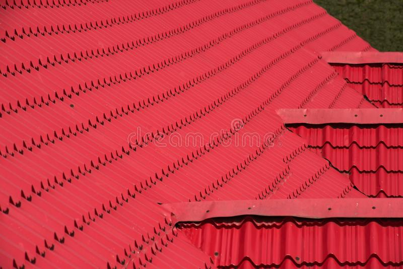 Abstract background texture, architectural details,red ceramic roof tiles. stock photo