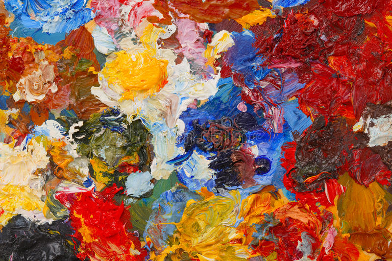Abstract background texture of oil paint. On the palette stock photo