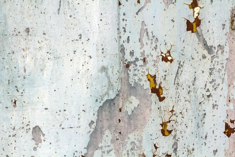 Abstract background texture of vertical grungy rusting metal plate with peeling paint and extensive corrosion with rust streaks. Abstract background texture of stock image