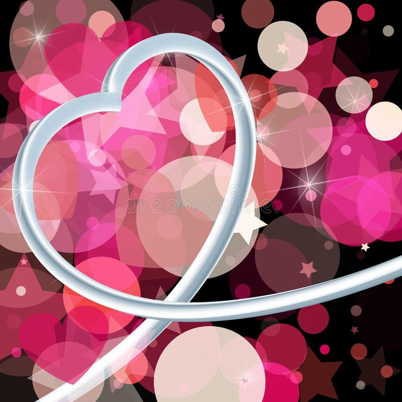 Abstract background to the Valentine's day. Metallic 3d heart. A royalty free illustration