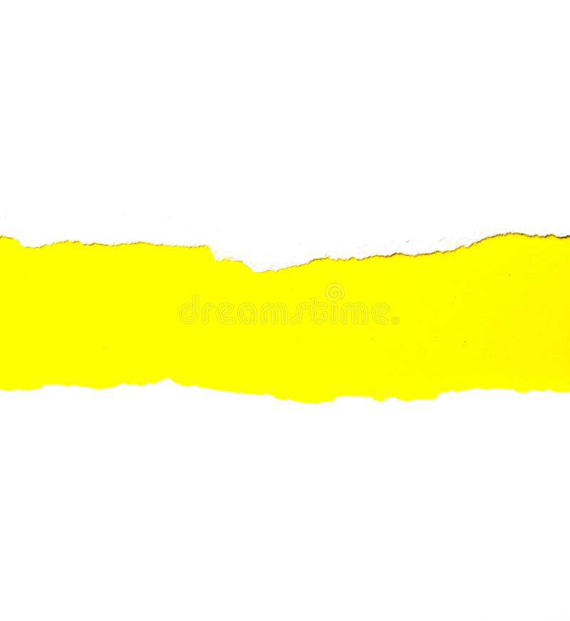 Abstract background Torn white paper On yellow stock images