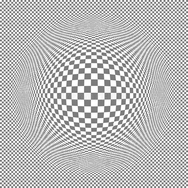 Abstract background with transparency grid. Bloat effect on regular transparency grid. Transparent backdrop illustration with bulge or protrusion in center royalty free illustration